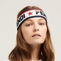 FENDI Trending Pentagonal Star Alphabet Sport Knit Headwrap Headband Warmer Head Hair Band