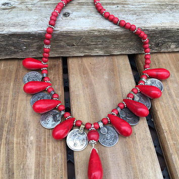 Red Necklace Coin Necklace, Red Gypsy Necklace,Tribal Necklace,Howlite and Afghan Kuchi Coins Statement Jewelry BOHO