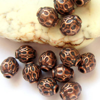 35 Red copper spacers beads 6mm antique copper tibetan style