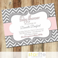 Pink Grey Chevron Baby Shower Invitation - bold grey white chevron - baby girl shower invitation - You Print