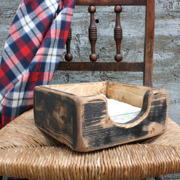 FREE SHIP Napkin Holder Primitive Rustic Distressed Painted Wood