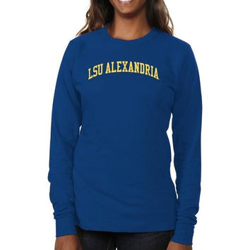LSU Alexandria Generals Ladies Basic Arch Long Sleeve Slim Fit T-Shirt - Royal Blue