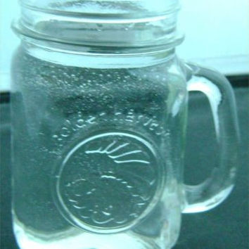 Golden Harvest Canning Jar Glass Mug Drinking Decorative Clear Collectible Mint