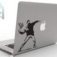 Banksy rioter throwing flowers - awesome and creative High Quality matte vinyl macbook or laptop decal, sticker