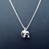 Tiny, Cute, Silver, Elephant, Necklace