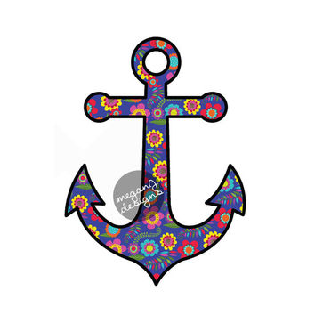 Anchor Car Decal Sticker: Colorful Floral Pattern Cute Nautical Beach Bumper Sticker Laptop Decal Red Blue Teal