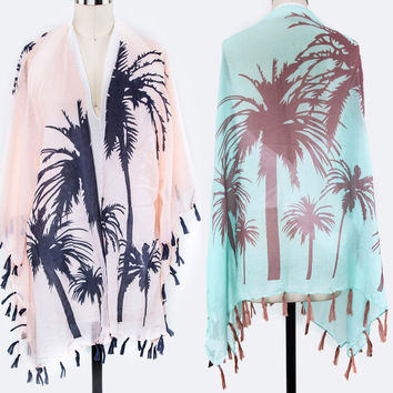 Women Summer Palm Tree Tassel Kimono Scarf Wrap Shawl RUANA Long COVERUP Viscose