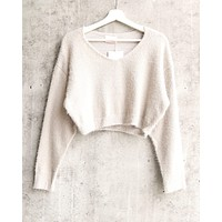 baby love cropped fuzzy sweater - more colors