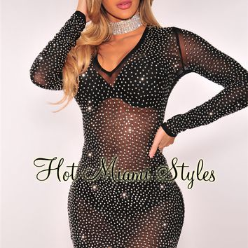 Black Mesh Silver Studded Long Sleeves Dress