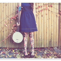 20% OFF SALE - Banjo Player Portrait - Fashion Photography Autumn Leaves Feminine Floral - 8x10 - dreamy brown blue pink
