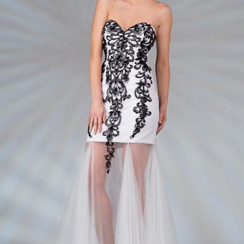 PRIMA C132511 Lace and Sheer Long Prom Dress