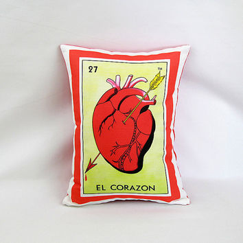 Corazon (Heart) Loteria Pillow Cover with Zipper - Linen Cotton Canvas - Mexican Chic - Day of the Dead, Dia de los Muertos