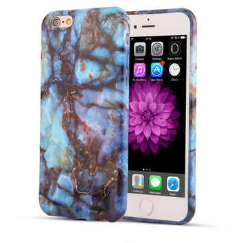 Blue With Gold and Brown Veins Marble Stone Cover For iPhone Models