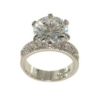 Huge Silvertone Round Solitaire Engagement Ring Style in Clear Cubic Zirconia with Four Stones on Each Side