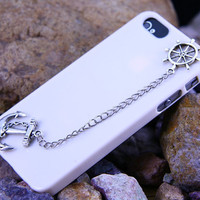 Iphone 5  case  cover, Navy Silver Anchor & Helm Chain Case Iphone 5,Etsy shop:clphonecase