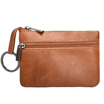 Coin Purse Pouch Genuine Leather Zipper Change Holder Slim Wallet For Men Women
