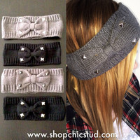Studded Headband - Crochet Knit Bow - Gray or Black Headband - Silver Black or Gold Studs