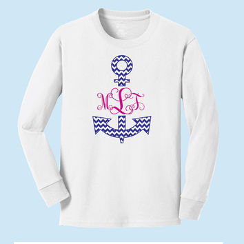 Monogrammed Initial Anchor Personalized Long Sleeve T-shirt