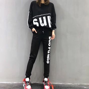 """Supreme"" Women Casual Personality Letter Long Sleeve Trousers Set Two-Piece Sportswear"