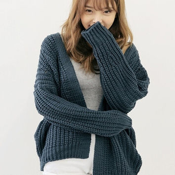 V-Neck Chunky Knitted Cardigan
