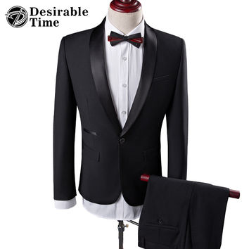 Men Black Wedding Prom Suits S-4XL Fashion Shawl Collar Men Tuxedo Suit Costume