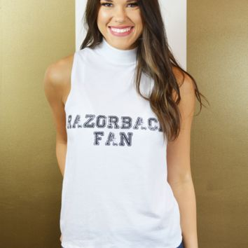 hey y'all razorback fan tank-white
