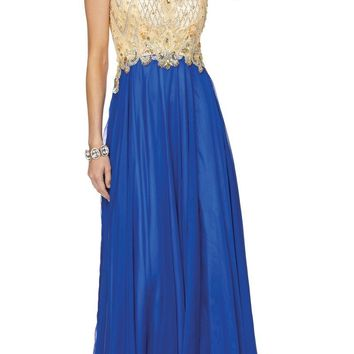 Beaded Cap Sleeved Long A-line Prom Dress with Slit Royal Blue