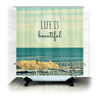Life is Beautful - Fabric Shower Curtain  - Photography, beach, ocean, blue, sea, seagulls, bathroom, home, decor, bathtub, shower curtain
