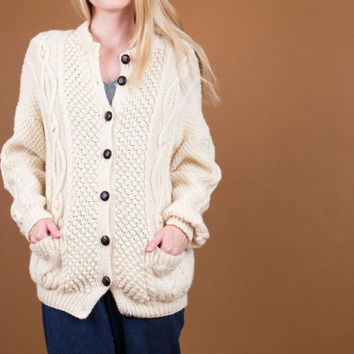 70's wool fisherman knit cardigan / draped slouchy cable knit sweater jacket / Vintage 1970s cream thick winter cardigan boyfriend