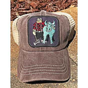 Paul and Babe The Blue Ox Mesh Trucker Cap- Black/Ivory