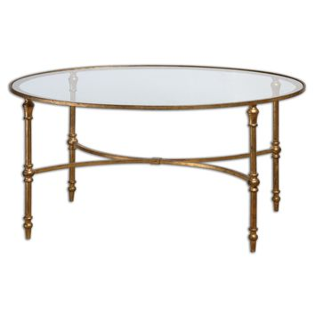 Vitya Gold Leaf & Glass Oval Coffee Table by Uttermost