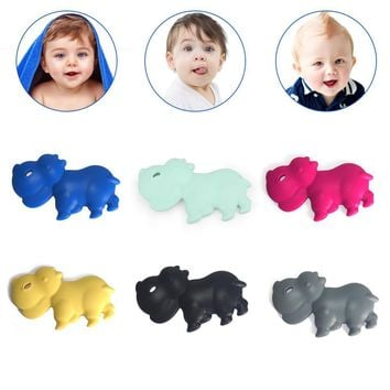 Baby Cartoon Hippo Silicone Teether Chew Toy