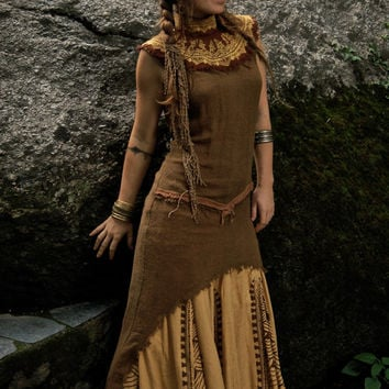 Tara Tribal No sleeve Dress Made of fine Raw Silk Natural Eco friendly Ethnic with Embroidery made by AnuttaraCrafts