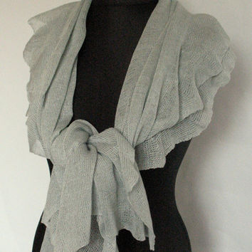 Linen Scarf Shawl Wrap Stole Light Gray Green