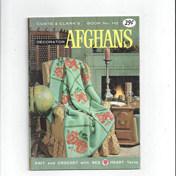 1963 Decorator Afghans Patterns, Coats & Clark's Book 142, Knitting, Crochet, Roses, Rippling, Cockleshells, Diamond Weave, Vintage Crafts
