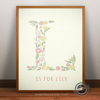 Custom Baby Name Lily print- Letter A Monogram Nursery Art, Personalized Name, Initial Print, Baby Boy, Baby Girl, Initial, Nursery Print
