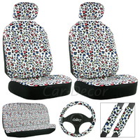 Leopard Color Spots Seat Cover 11 Pc Set