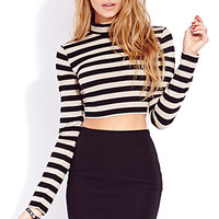 FOREVER 21 Standout Striped Crop Top Taupe/Black Large