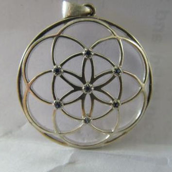 Sacred Geometry Seed of Life Pendant with Blue Sapphires set in Sterling 925 Silver