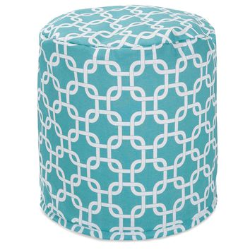 Teal Links Small Pouf