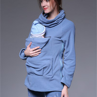 Thumbaby Maternity Sweater 3-in-1 Baby Wearing Jacket Fleece Maternity Sweatshirt Multifunctional Nursing Breastfeeding Hoodie
