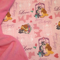 Baby Blanket Lady and The Tramp Fabric Personalized Baby Nursery Shower Gift More FABRIC Back Choices Avail Burp Bib Pacifier Pods TOO!