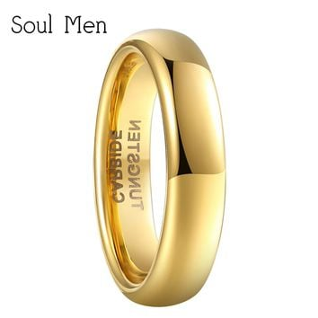 Soul Men Gold Color Polish Dome Ring 4mm Wide Tungsten Carbide Wedding Engagement Band Girl Women's Alliance Jewelry