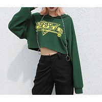 Women Personality Casual Letter Flower Print Bat Sleeve Long Sleeve Hooded Sweater Crop Tops