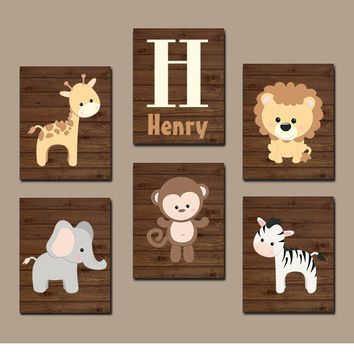 BOY Animal Nursery Wall Art, Boy Animal Nursery, Jungle Safari Animals, Baby Boy Decor, Boy Bedroom Pictures, Canvas or Prints Set of 6