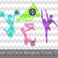 monogram cheerleading or ballet decal, custom car decal, laptop decal, monogram cheerleading, monogram dance