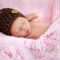 Fall Brown Crochet Baby Hat with Flecks of Tan and White with Untreated Wooden Button Accent  0-3 Months Perfect Fall Photo Prop Boy or Girl