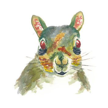 Zombie Squirrel Halloween Watercolour - Original Painting, Squirrel Art, 8x10
