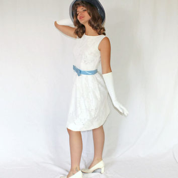 60s White Lace Dress by Carol Brent. Party Dress Cocktail Dress. Bow Dress. Wedding. Mad Men Fashion. Cottage Chic