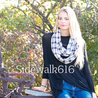 Tan and Black Plaid Scarf